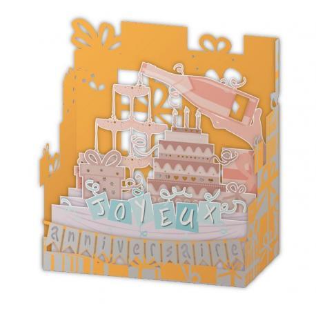 Carte Relief Pop Up - Joyeux anniversaire : Le gâteau et champagne - PL23 - 11x5x11.5 cm