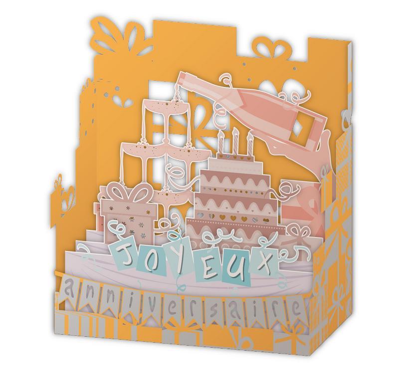 Carte Relief Pop Up Joyeux Anniversaire Le Gateau Et Champagne Pl23 11x5x11 5 Cm Planete Images Com