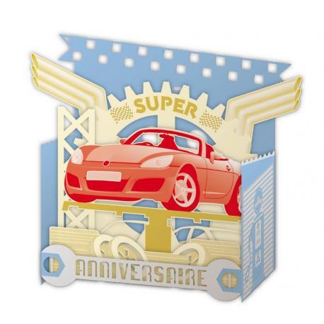 Carte Relief Pop Up - Super anniversaire : La voiture - PL26 - 11x5x11.5 cm