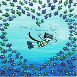 Carte Christine Donnier : Titi Pinson - Comme un poisson dans l'eau ...amour - 13.5x13.5 cm