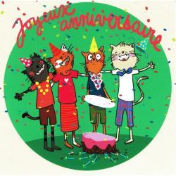 Carte Alice Pelaudeix : Titi Pinson - Joyeux anniversaire (chute du gâteau) - 13.5x13.5 cm