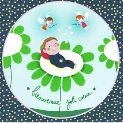Carte Alice Pelaudeix : Titi Pinson - Bienvenue joli coeur (garçon) - 13.5x13.5 cm