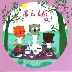 Carte Alice Pelaudeix : Titi Pinson - Ah le belle vie! (pique-nique) - 13.5x13.5 cm