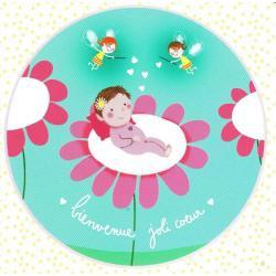 Carte Alice Pelaudeix : Titi Pinson - Bienvenue joli coeur (fille) - 13.5x13.5 cm