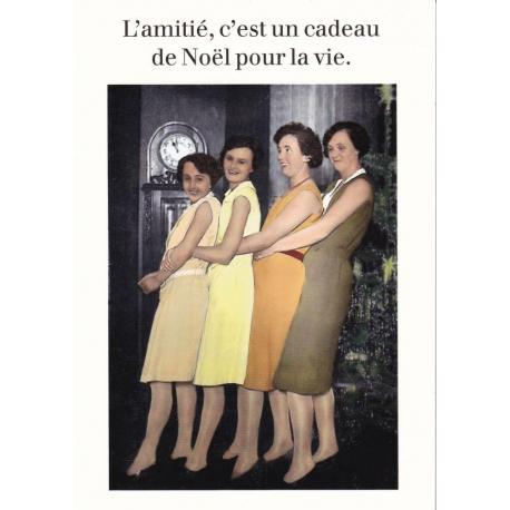 Carte humour Noël de Cath Tate - L'amitié, c'est un cadeu de Noël... - 10.5x15 cm