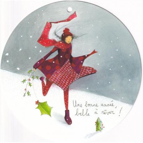 Carte Anne-sophie Rutsaert - Une bonne année belle à rêver! - Diam 15 cm