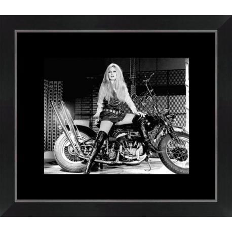 Affiche encadrée Brigitte Bardot - Harley Davidson - Affiche encadrée 24x30 cm