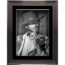 Affiche encadrée Noir et Blanc: Clint Eastwood - 50x70 cm (Cadre Glascow)