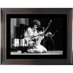 Affiche encadrée Noir et Blanc: Jimmy Hendrix - 50x70 cm (Cadre Glascow)