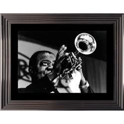 Louis Armstrong - Affiche encadrée Noir et Blanc: 50x70 cm (Cadre Glascow)