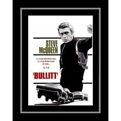 Affiche encadrée Noir et Blanc: Steve Mc Queen - Bullitt - 50x70 cm (Cadre Tucson)