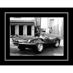 Affiche encadrée Bullitt - Steve Mc Queen et sa Jaguar - Affiche encadrée 50x70 cm