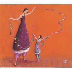 Carte Gaëlle Boissonnard 2019 - La guirlande multicolore - 14x16 cm. Réf: 15548