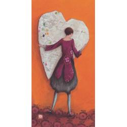 Carte Gaëlle Boissonnard 2019 - Coeur enlacé - 10.5x21 cm. Réf: 15753