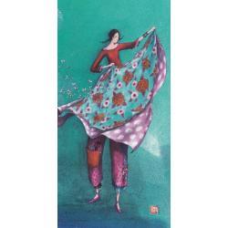 Carte Gaëlle Boissonnard 2019 - Drap fleuri et les papillons - 10.5x21 cm. Réf: 15754