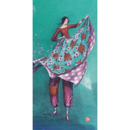 Carte Gaëlle Boissonnard 2019 - Drap fleuri et les papillons - 10.5x21 cm