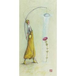 Carte Gaëlle Boissonnard 2019 - Fleur sous la douche - 10.5x21 cm. Réf: 15760