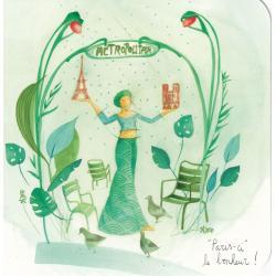 """Carte Anne-Sophie Rutsaert - """"Paris-ci"""" le bonheur... - 14x14 cm"""
