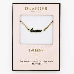 Collier pendentif prénom LAURINE - 42 cm env réglable