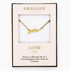 Collier pendentif prénom JUSTINE - 42 cm env réglable