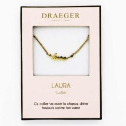 Collier pendentif prénom LAURA - 42 cm env réglable