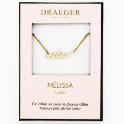 Collier prénom personnalisé MELISSA - 42 cm env réglable
