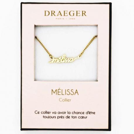 Collier pendentif prénom MELISSA - 42 cm env réglable