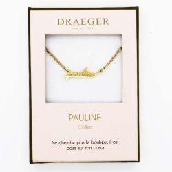 Collier prénom personnalisé PAULINE - 42 cm env réglable