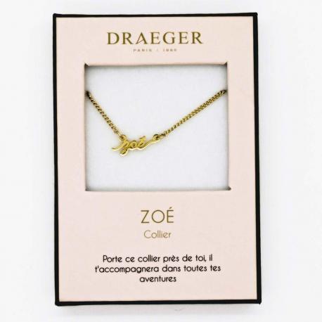 Collier pendentif prénom ZOE - 42 cm env réglable