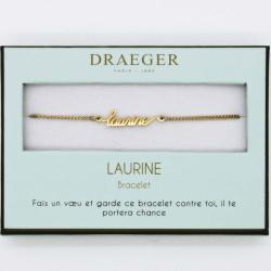 Bracelet prénom personnalisé LAURINE - 14 cm environ réglable