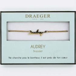 Bracelet prénom personnalisé AUDREY - 14 cm environ réglable