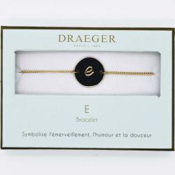 Bracelet lettre E - 14 cm environ réglable
