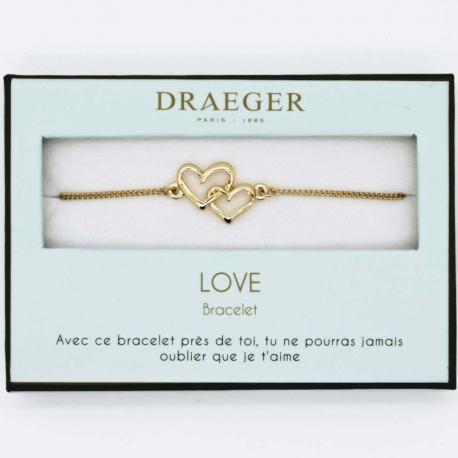 Bracelet motif COEUR ENTRELACE - 14 cm environ réglable