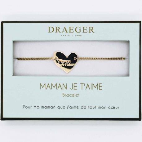 Bracelet motif COEUR MAMAN - 14 cm environ réglable