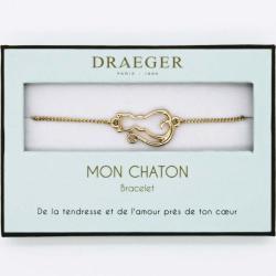 Bracelet motif CHAT - 14 cm environ réglable