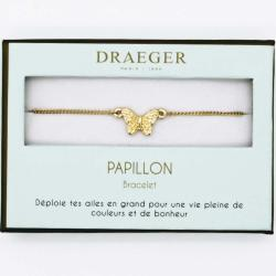 Bracelet motif PAPILLON - 14 cm environ réglable