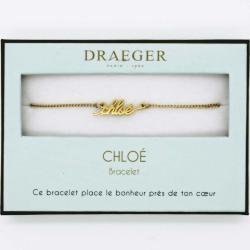Bracelet prénom personnalisé CHLOE - 14 cm environ réglable