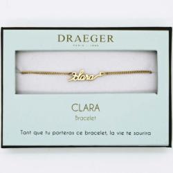 Bracelet prénom personnalisé CLARA - 14 cm environ réglable