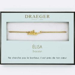 Bracelet prénom personnalisé ELISA - 14 cm environ réglable
