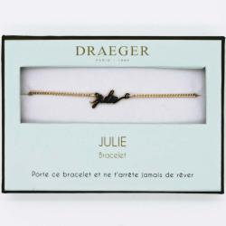 Bracelet prénom personnalisé JULIE - 14 cm environ réglable