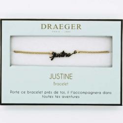 Bracelet prénom personnalisé JUSTINE - 14 cm environ réglable
