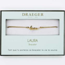 Bracelet prénom personnalisé LAURA - 14 cm environ réglable