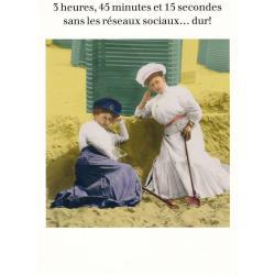 Carte humour de Cath Tate - 3 heures, 45 minutes et 15 secondes... - 10.5x15 cm