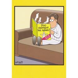 Carte humour Tim Whyatt - D'où viennent les bébés? - V 12x17 cm