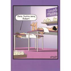 Carte humour Tim Whyatt - Couple massage: Dans l'autre sens Robert - V 12x17 cm