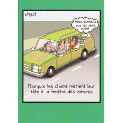 Carte humour Tim Whyatt - Chiens aux fenêtres des voitures... - V 12x17 cm