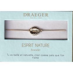 Bracelet motif FEUILLE - 14 cm environ réglable