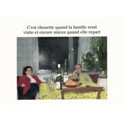 Carte humour Noël de Cath Tate - Chouette quand la famille rend visite et ... - 10.5x15 cm