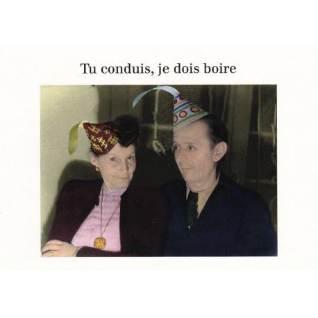 Carte humour Noël de Cath Tate - Tu conduis, je dois boire ... - 10.5x15 cm