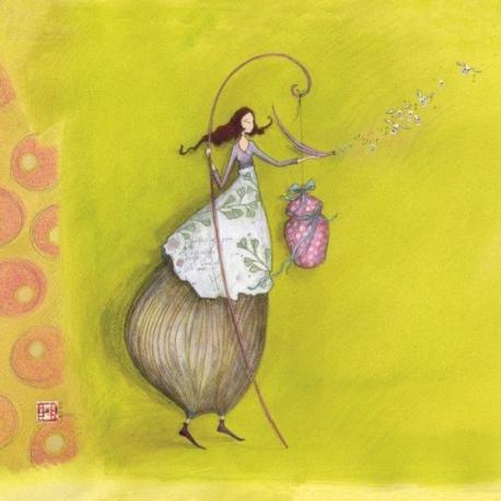 Carte Gaëlle Boissonnard - La fille et le cadeau suspendu - 14x14 cm